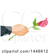 Romantic Male Hand Holding Out A Long Stemmed Pink Rose