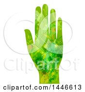 Hand With An Open Palm In A Green Leaf And Vine Pattern