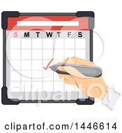 Clipart Of A Hand Writing A Check Mark On A Calendar Royalty Free Vector Illustration by BNP Design Studio