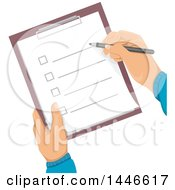 Clipart Of A Pair Of Hands Holding And Checking Off Items On A Check List Royalty Free Vector Illustration