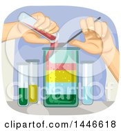 Clipart Of A Pair Of Hands Conducting A Science Experiment Showing The Different Densities Of Liquids Royalty Free Vector Illustration