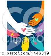 Clipart Of A Group Of Colorufl Hands With Hearts On Blue Royalty Free Vector Illustration by BNP Design Studio