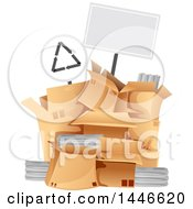 Clipart Of A Blank Sign Over A Pile Of Boxes With Recycleable Materials Royalty Free Vector Illustration