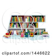 Clipart Of A Library Book Shelf In The Shape Of ABC Royalty Free Vector Illustration