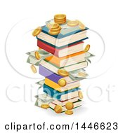 Clipart Of A Stack Of Book Swith Coins And Cash Money Royalty Free Vector Illustration