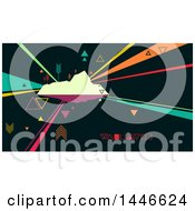 Clipart Of A Retro Abstract Island With Colorful Rays And Arrows Royalty Free Vector Illustration by BNP Design Studio