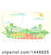 Clipart Of A Gemetric Country Landscape With A Cottage And Driveway At A Farm Royalty Free Vector Illustration