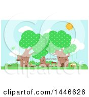 Clipart Of A Preschool In Trees Royalty Free Vector Illustration