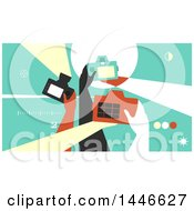 Clipart Of A Group Of Retro Photographer Hands Taking Pictures With Cameras Royalty Free Vector Illustration