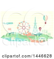 Clipart Of A Retro Geometric Van Plane Hot Air Balloon And Sailboat With A Map Marker Over A Carnival Royalty Free Vector Illustration