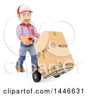 3d Shipping Warehouse Worker Moving Boxes With A Hand Truck On A White Background