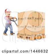 3d Shipping Warehouse Worker Moving Boxes On A Pallet Truck On A White Background