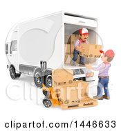 3d Shipping Warehouse Workers Unloading A Delivery Truck Full Of Boxes On A White Background