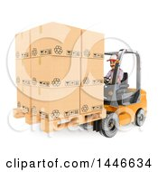 Clipart Of A 3d Shipping Warehouse Worker Moving A Pallet Of Boxes With A Forklift On A White Background Royalty Free Illustration