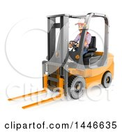3d Shipping Warehouse Worker Operating A Forklift On A White Background