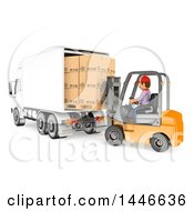 Clipart Of A 3d Shipping Warehouse Worker Loading A Truck Full Of Boxes With A Forklift On A White Background Royalty Free Illustration