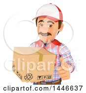 3d Shipping Warehouse Worker Mover Or Delivery Man Giving A Thumb Up And Holding A Box On A White Background