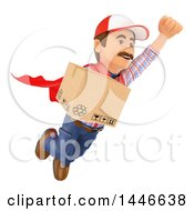Clipart Of A 3d Shipping Warehouse Worker Mover Or Delivery Man Flying With A Box On A White Background Royalty Free Illustration by Texelart