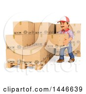 Clipart Of A 3d Shipping Warehouse Worker Stacking Boxes On A White Background Royalty Free Illustration