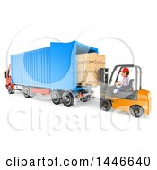 Clipart Of A 3d Shipping Warehouse Worker Loading A Big Rig Truck Full Of Boxes With A Forklift On A White Background Royalty Free Illustration