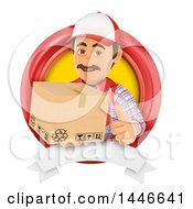 Clipart Of A 3d Shipping Warehouse Worker Mover Or Delivery Man Holding A Box And Giving A Thumb Up In A Circle On A White Background Royalty Free Illustration