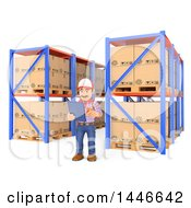 Clipart Of A 3d Shipping Warehouse Worker Checking Pallets And Shelves And Using A List On A White Background Royalty Free Illustration