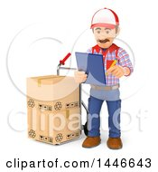Clipart Of A 3d Shipping Warehouse Worker Checking Packages On A Hand Truck On A White Background Royalty Free Illustration