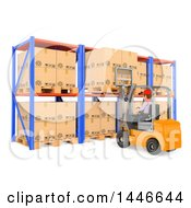 Clipart Of A 3d Shipping Warehouse Worker Operating A Forklift And Pulling Or Loading A Pallet On A White Background Royalty Free Illustration