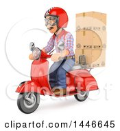 Clipart Of A 3d Shipping Warehouse Worker Delivery Man Or Mover With Packages On A Scooter On A White Background Royalty Free Illustration