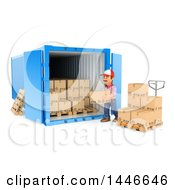 3d Shipping Warehouse Worker Loading Or Unloading Boxes At A Cargo Container On A White Background