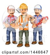 3d Group Of Workers With Tools On A White Background