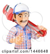 Clipart Of A 3d Male Plumber Worker Giving A Thumb Up And Holding A Monkey Wrench On A White Background Royalty Free Illustration
