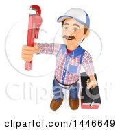 Clipart Of A 3d Male Plumber Worker Holding A Monkey Wrench And Tool Box On A White Background Royalty Free Illustration