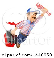 Clipart Of A 3d Super Male Plumber Worker Flying With A Monkey Wrench And Tool Box On A White Background Royalty Free Illustration