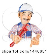 Clipart Of A 3d Male Plumber Worker Holding A Monkey Wrench And Pointing Down Over A Sign On A White Background Royalty Free Illustration
