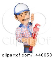 Clipart Of A 3d Male Plumber Worker Holding A Monkey Wrench Around A Sign On A White Background Royalty Free Illustration