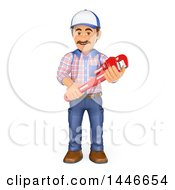 Clipart Of A 3d Male Plumber Worker Holding A Monkey Wrench On A White Background Royalty Free Illustration