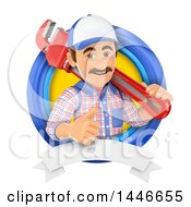 Clipart Of A 3d Male Plumber Worker Holding A Monkey Wrench And Giving A Thumb Up In A Circle On A White Background Royalty Free Illustration by Texelart