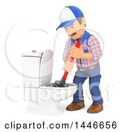Clipart Of A 3d Male Plumber Worker Plunging A Toilet On A White Background Royalty Free Illustration