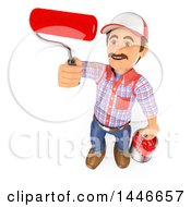 Clipart Of A 3d Painter Worker Holding A Bucket And Roller Brush On A White Background Royalty Free Illustration