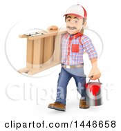 Clipart Of A 3d Painter Worker Carrying A Bucket And Ladder On A White Background Royalty Free Illustration