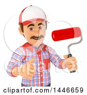 Clipart Of A 3d Painter Worker Holding A Roller Brush And Giving A Thumb Up On A White Background Royalty Free Illustration