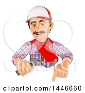 Poster, Art Print Of 3d Painter Worker Holding A Roller Brush Over A Sign On A White Background