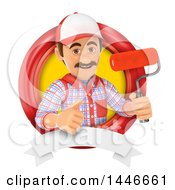 Poster, Art Print Of 3d Painter Worker Giving A Thumb Up And Holding A Paintbrush Roller In A Circle On A White Background