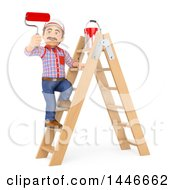3d Painter Worker Standing On A Ladder And Using A Roller Brush On A White Background