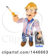 Clipart Of A 3d Male Electrician Worker Holding Wire A Tool Box And Screwdriver On A White Background Royalty Free Illustration