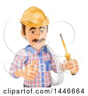 Clipart Of A 3d Male Electrician Worker Giving A Thumb Up Holding Wire And A Screwdriver On A White Background Royalty Free Illustration by Texelart