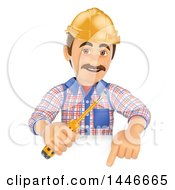 Clipart Of A 3d Male Electrician Worker Holding A Screwdriver Over A Sign On A White Background Royalty Free Illustration by Texelart
