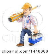 Clipart Of A 3d Male Electrician Worker Holding Wire A Tool Box And Carrying A Giant Screwdriver On A White Background Royalty Free Illustration by Texelart