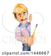 Clipart Of A 3d Male Electrician Worker Holding A Screwdriver Around A Sign On A White Background Royalty Free Illustration by Texelart